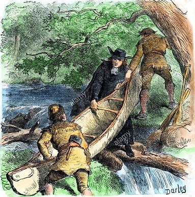 Missionnaire Francais Et Les Commercants De Fourrure Transportant Un Canot A Un Portage En Amerique Du Nord A La Main Gravure Sur Bois Mypj76