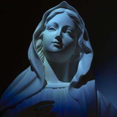 Virgin Mary Our Lady Of Grace On Blue Light